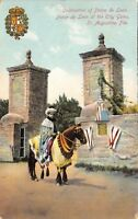 St Augustine Florida~Ponce de Leon Celebration at City Gate~Man on Horse~1910 PC