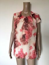 TED BAKER Besey Bumble Bee T-shirt Top Coral Brown Beige Size 3 UK 12