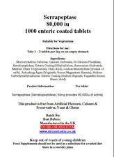 Serrapeptase 80' 000 IU 1000 entéricas comprimidos recubiertos paquete a granel Free UK Post