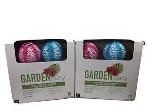 Garden Party Multicolor Lantern String 10 Light Set Indoor/Outdoor Lot Of 2