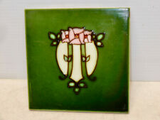Antique Arts And Crafts Wall Tile Deep Greens Floral 4