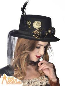 Steampunk Top Hat Elegant Ozzy Ladies Victorian Fancy Dress Costume Accessory