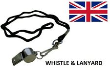 Metal Referee's Sports Whistle & Hi Quality 20mm Black Lanyard -