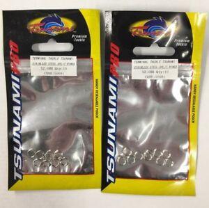 NEW 2 X TSUNAMAI STAINLESS STEEL SPLIT RINGS (20) FISHING FREE POST UK