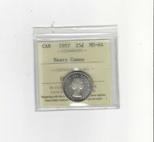 **1957**, ICCS Graded Canadian, 25 Cent, **MS-64 Heavy Cameo**