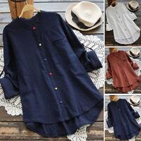 UK Women Plus Long Sleeve Cotton Linen Blouse Ladies Baggy T-Shirt Top Size 8-24