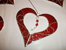 Stained Glass handmade ruby red Heart with wire sun-catcher / window decoration