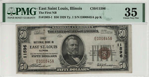 1929 T1 $50 NATIONAL BANKNOTE CURRENCY EAST ST. LOUIS ILLINOIS PMG VF 35 (845A)