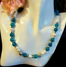 """Collar Zafiro Azul 9,5"""" Perlas Auténticas 9"""""""" Azurita Insertos Plata 925"""