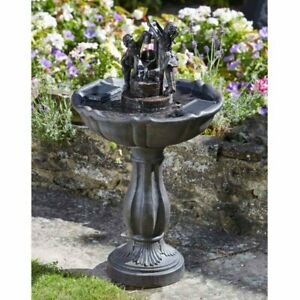 Solar Powered Water Feature Fountain Tipping Pail Garden Decorative Ceramic Gift