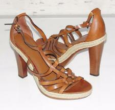 "COACH~SADDLE~LEATHER *DELANE* 5"" WOOD STACKED HIGH HEELS~STRAPPY SANDALS SHOES~9"