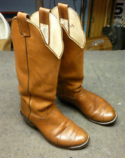 Olathe Mens Tall Cowboy Boots Sz 8.5D Wide Tan Leather Western Made in USA EUC