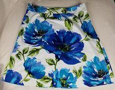 Lane Bryant Women's Skirt 18 White Blue Green Floral A Line GUC