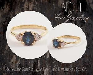 NC Designs Genuine 18kt Yellow Gold Australian Sapphire 2 Diamond Ring Size K1/2