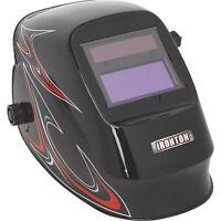 Ironton Variable-Shade Auto-Darkening Welding Helmet w/Grind Mode- Black Flame