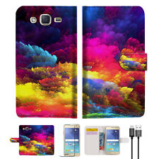 Colorful Cloud Wallet Case Cover For Samsung Galaxy J2- A021