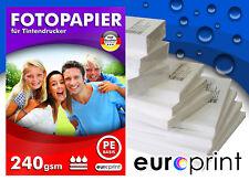 Fotopapier 240g 100 Blatt 10x15 Seidenglänzend Mikroporös Rückseite PE Qualität