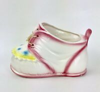Vintage Baby Shoe Planter Pot Nursery Porcelain Ceramic Dresser Caddy Japan Flaw