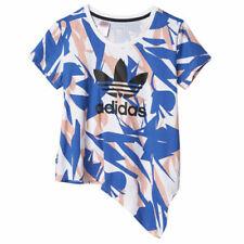 Adidas Originals Niñas Camiseta de cuello redondo en Azul Blanco Niños Camiseta Top S14473 UA99