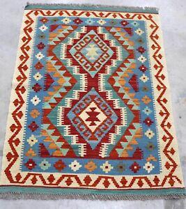 Afghan Kundoz Genuine Handmade Tribal Nomad Multi Colour Wool Kilim Rug 84x113cm