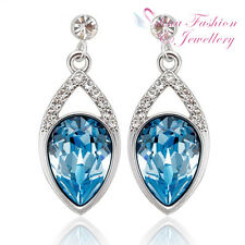 18K White Gold Filled Made With Swarovski Element Teardrop Ocean Blue Earrings