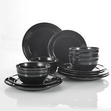 VANCASSO NOAH BLACK 12-PIECES PORCELAIN DINNER SET DESSERT SIDE PLATE BOWL FOR 4
