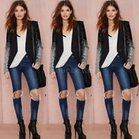 Fashion Women Casual Sequin Jacket Long Sleeve Tops Blazer Outwear Coat Z7B5