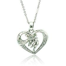 Fashion 925 Silver Plated Women Angel Wings Heart Pendant Necklace Chain Jewelry