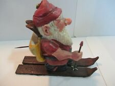 2002 R.L. Pitcher Hand Crafted Gnome with Skies / Elf