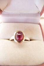 Retro Vintage 925 Sterling Silver Cabochon Garnet Dress Ring Size O