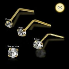 L-Shaped Nose Ring Stud Pin Bar 9Kns013 1x 22g 9K Solid Gold 3mm Genuine Crystal