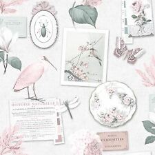 Curiosity Collage Dove Pink Birds Butterflies Floral Feature Wallpaper 12371