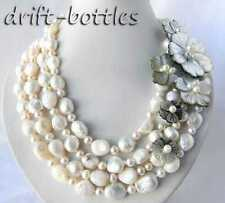 4Strands 18'' 13mm White Round Baroque Freshwater Pearl Shell Flower Necklace