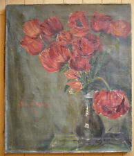 old vintage OIL 20s impressionist 1920s modernist modern red flowers painting