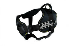 DT Fun Chest Support Dog Harness Yellow Trim Velcro Patch Navy Seal K9 Medium No Petting Please