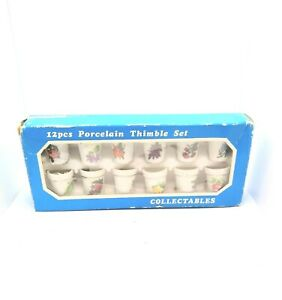 NOS 12PC Floral Sewing Timble In Box