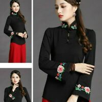 Women Ethnic Floral Embroidery T Shirt Blouse Chinese Slim Tops Pullover Vintage