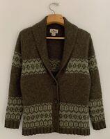 WOOLRICH Womens Wool Blend Cardigan Sweater Sz M Green Shawl Collar 2-Button