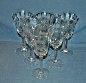 6 Stunning W.J. Hughes Corn Flower Wine Glasses Lot D6