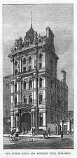 LONDON The Junior Naval & Military Club at Pall Mall - Antique Print 1875