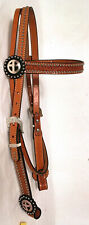 NEW TEX TAN WESTERN BRIDLE HEADSTALL TOOLED LEATHER SILVER DOTS NICE HORSE TACK