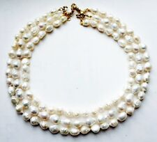 3 row Pearl necklace with Crescent and Star Gold Clasp