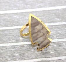 Natural Solar Quartz Emerald Opal Jasper 24k Gold Plated Adjustable Ring Jewelry