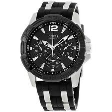 GUESS Men's Iconic Black,Stainless Steel Case,Silicone/Rubber Strap W0366G1