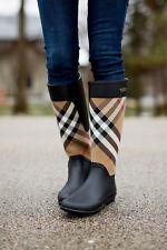 Burberry Women's Check Panel Clemence Rubber Rain Boots Housecheck US 7 EU37 EUC
