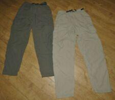 2 Pair REI Nylon Tan & Green 5 Pocket Convertible, Hiking, Camping Pants, M x 36