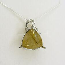 Natural Rutilated rutile quartz 925 silver, 9ct 14k 18k 14ct 18ct Gold pendant