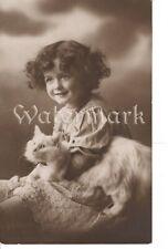 Vintage long hair cat real photo postcard beautiful brunette girl circa 1910