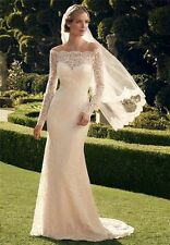 New Long Sleeve Bridal Gown Custom Size Lace Off The Shoulder Wedding Dresses