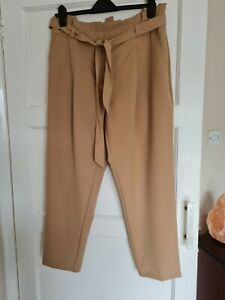 BRAND NEW BEIGE ANKLE GRAZER STYLE TROUSERS SIZE 14